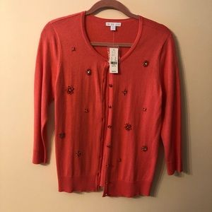 Lovely salmon-colored beaded lightweight cardigan